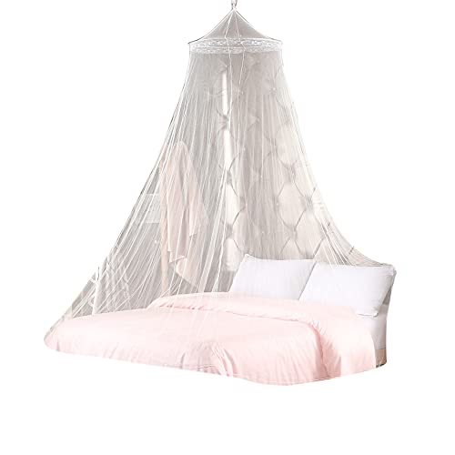 KRISVA - Mosquitera para dosel, mosquitera grande de poliéster antiinsectos para habitación de bebé o niño, gran mosquitera para cama individual y doble
