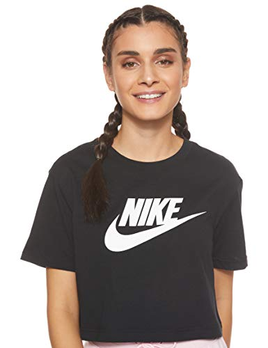 NIKE W NSW tee Essntl CRP ICN Ftra Camiseta, Mujer, Negro (Black/White), L