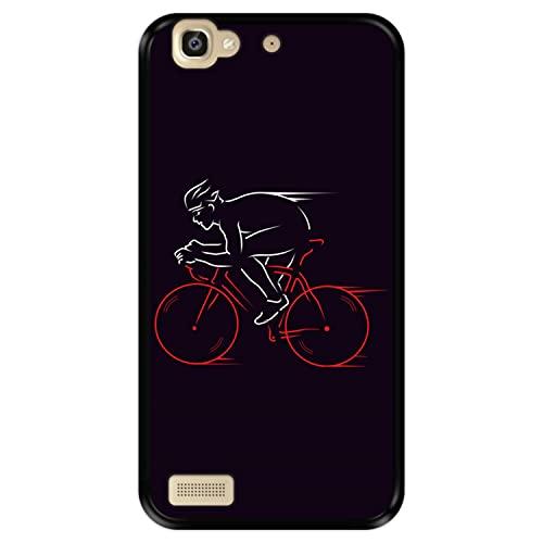 Funda Negra para [ Huawei P8 Lite Smart - GR3 ] diseño [ Atleta, Ciclista en Bicicleta ] Carcasa Silicona Flexible TPU