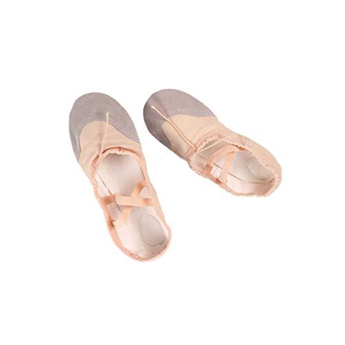 Calçados de lona de balé de couro Healifty 1 par de sapatilhas de balé com sola completa para dança sapatos de yoga para crianças mulheres dançando treino bege tamanho 32, Bege, 36