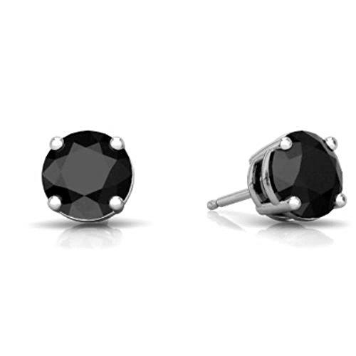 4mm Genuine Black Onyx Round Stud Earrings .925 Sterling Silver
