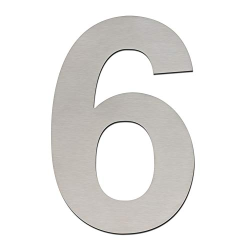 Número de casa moderno (152 mm de altura). Hecho con acero inoxidable 304 cepillado y sólido. De aspecto flotante y fácil de instalar (número 0, cero), Number 6/9