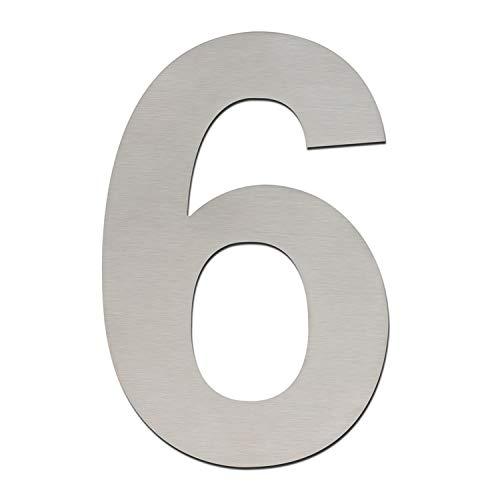 Hausnummer, gebürstet, modern, 205 mm hoch, aus massivem 304 Edelstahl, schwebende Optik und einfache Montage (Nummern 6/9 Sechs/Neun)