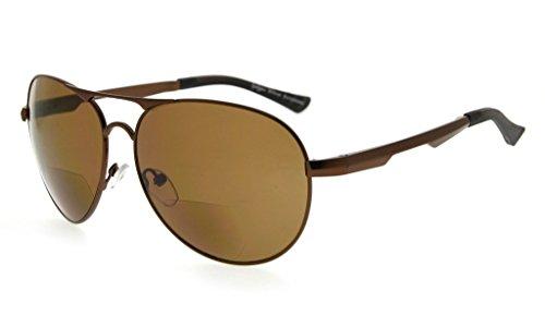 Eyekepper Polycarbonat Polarisierte Bifokale Sonnenbrillen Pilot Style Sonnenscheinleser Outdoor Polarisierte Lesebrillen (Braun, 1.50)
