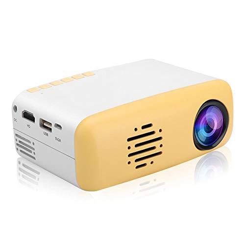 PUSOKEI Mini Lindo proyector Inteligente, proyector de Cine portátil LED HD 1080P Compatible con Varios Idiomas, Sistema de refrigeración avanzado, para PC, portátil, TV Box, 100-240 V(Yellow)