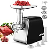 Electric Meat Grinder, Meat Mincer with 3 Grinding Plates and Sausage Stuffing Tubes for Home Use &Commercial, Stainless Steel/Silver/2000W Max