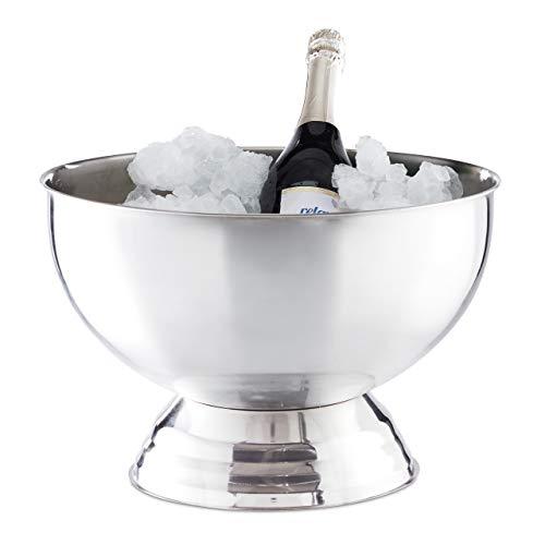 Relaxdays Sektkühler Schale, XXL Eiswürfelbehälter für Wein, Champagner, Edelstahl, Getränkekühler D: 36,5 cm, silber