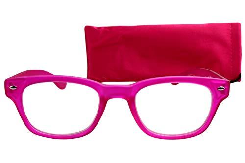 Lesebrille Damen rosa pink mit langem Bügel leicht eckige Gläser retro Lesehilfe Sehhilfe 1,5 2,0 2,5 3,0 3,5 mit Etui Putztuch, Dioptrien:Dioptrien 2.0