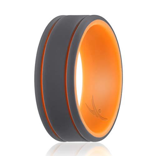 ROQ Anillo de boda de silicona para hombre – 3 paquetes/4 paquetes y individuales – Duo Collection bandas de boda de goma de silicona – estilos clásicos, 8.5 - 9 (18.9mm), Lines: Orange, Grey