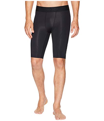 2XU Mens Force Compression Shorts for High Intensity Training and Workouts/Exercise, Black/Gold, X-Large
