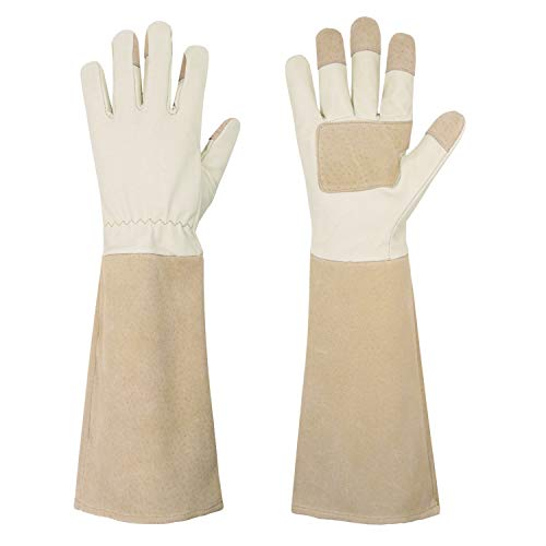 Rose Pruning Gloves for Men & Women, Long Thorn Proof Gardening Gloves, Breathable Pigskin Leather Gauntlet, Best Garden Gifts & Tools for Gardener