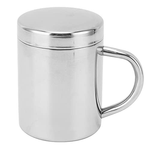Duokon Taza de Acero Inoxidable, Taza de Agua de té portátil con Mango de Tapa, Taza de Leche para Beber para el hogar, Viajes al Aire Libre, Picnic(L)
