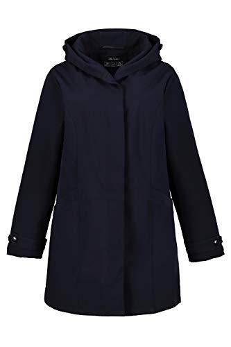 Ulla Popken Femme Grandes Tailles Manteau Softshell, Capuche, Patte boutonnée Bleu Marine 52/54 727049 70-50+
