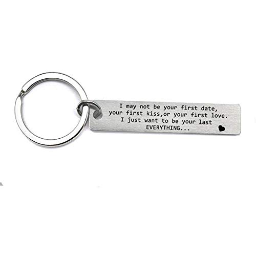 XGAKWD I May Not Be Your First Date Kiss Love Keychain Gifts, Wedding Anniversary Birthday Gift for Boyfriend Fiance Husband, Personalized Valentine