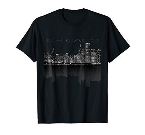 Chicago City Skyline Lights at Night T shirt