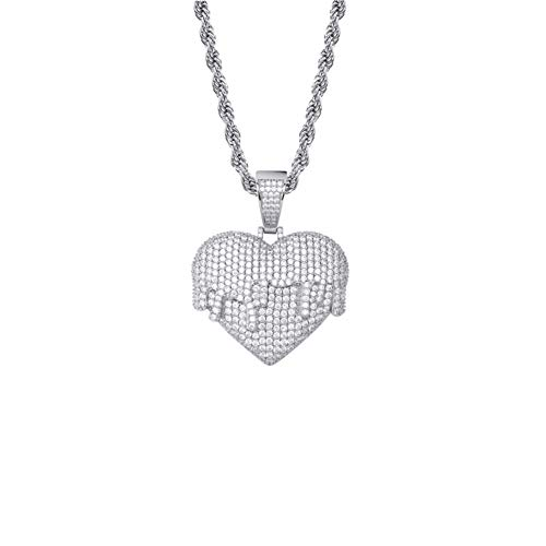 Heart Pendant Ketting Met Rope Chain Cubaanse Chain Goud Zilver Iced Out Kubieke Zirkoon Hip Hop Rock Jewelry