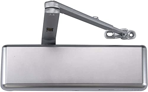 Extra Heavy Duty Designer Commercial Door Closer -Lynn Hardware #9016 (US26D Aluminum)- Surface Mounted, Grade 1, Cast Iron, Adjustable Size 1-6, UL 3 Hour Fire Rated & ADA for High Traffic doorways