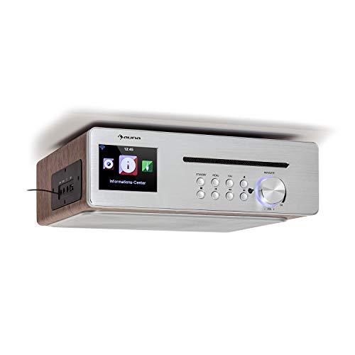 """auna Silverstar Chef Radio de Cocina, 10W RMS / 20W MAX, Reproductor de CD, función Bluetooth, Radio: Internet/Dab+/UKW, Pantalla TFT a Color de 2.4"""", Puerto USB, Entrada AUX, Plata"""