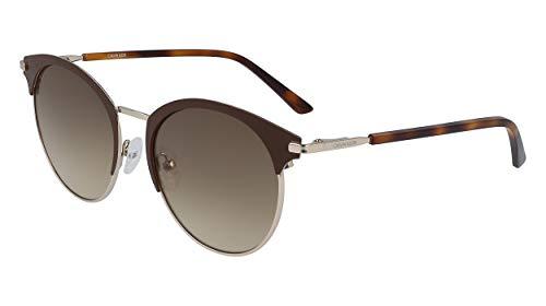 Calvin Klein EYEWEAR Womens CK19310S Sunglasses, DARK BROWN, 5218