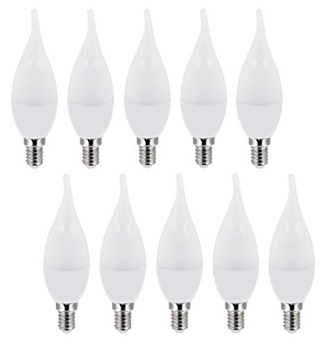 Set van 10 - LED-lampen kaars vlammen 3W E14 C37 mat 200° - 270lm - koudwit (6000 K)