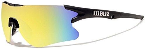 BLIZ TEMPO Unisex Sonnenbrille Sportbrille Radbrille mit S3 Wechselgläser 9021(9021-19 Frame: BLACK MAT / Lens: BROWN/GOLD MULTI)