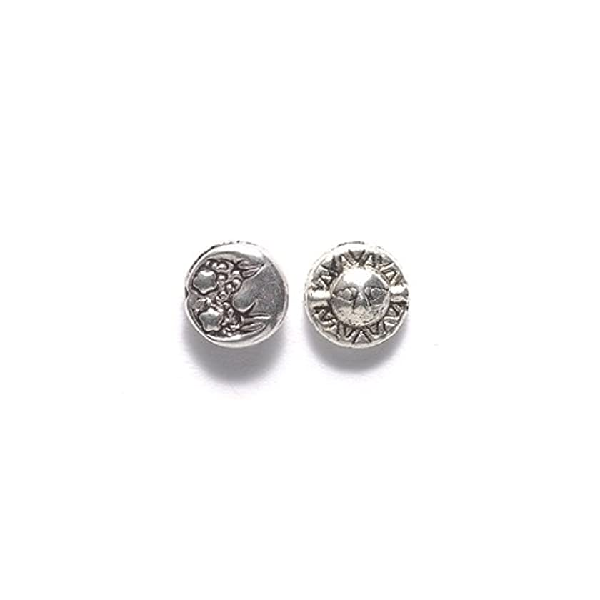 Shipwreck Beads Zinc Alloy Bead Disc with Sun and Moon, 7-1/2mm, Silver, 100-Pack