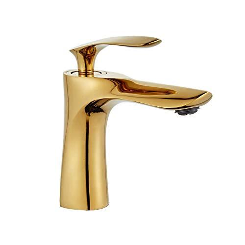 Grifo del lavabo del baño Acabado en cromo dorado Solo mango Un orificio Montaje en la cubierta Vanidad Mezclador Grifo Lavabo Leekayer