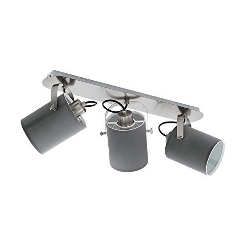 EGLO Deckenlampe Villabate, 3 flammige Textil Deckenleuchte 3-flammig, Deckenspot aus Stahl, Stoff, Farbe: Nickel matt, grau, Fassung: E27