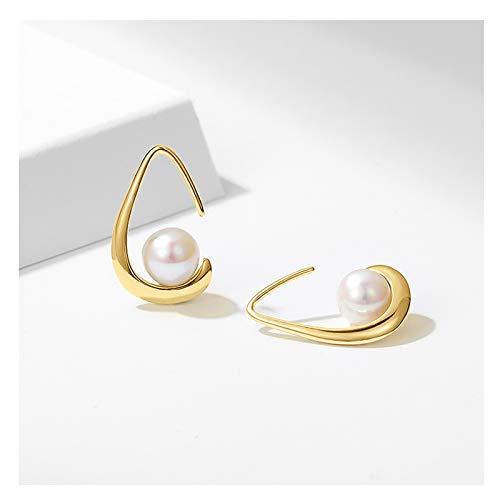OMTONGXIN Pendientes S925 Plata Pendientes de Perlas de Agua Dulce Femenino Exquisito Pequeño y Simple diseño Pendientes de Alta Gama Joyería Pendientes de Bola para Mujer (Color : A)