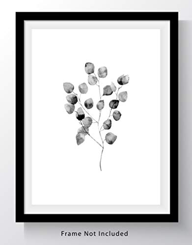 Eucalyptus Leaves on Branch Wall Art Print - 11x14 UNFRAMED, Minimalist Modern Black &