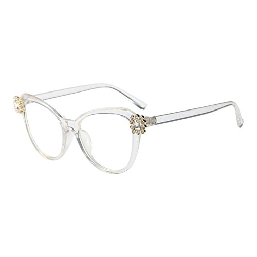 Xinvision Retro Stil Cateye Eyeglasses Rahmen Klare Linse Glasses Rhinestone Dekoration Kunststoff Rahmen Mode Damen Im Freien Optisch Brillen