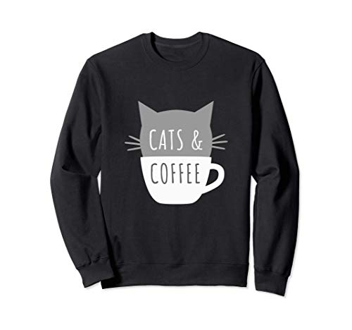 Cats and Coffee - Gatito en una taza divertidos bigotes Sudadera