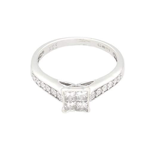 Anillo de oro blanco de 9 quilates con diamantes de 0,40 quilates, tamaño J, cabeza de 5 x 5 mm, anillo de lujo para mujer