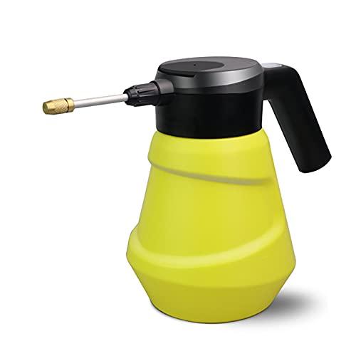 PWQ Botella Pulverizadora Eléctrica De 2 L para Plantas de Interior/Exterior, Regadera Eléctrica, con Boquilla Ajustable, Blanco/Amarillo
