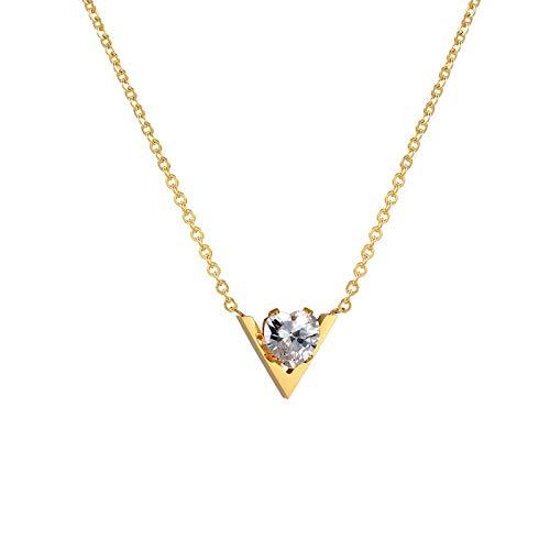 collar Collar De Mujer Hermosa Modelo V Mosaico Colgante De Cristal Brillante Collar De Acero De Titanio Joyería De Color Dorado Para Mujeres