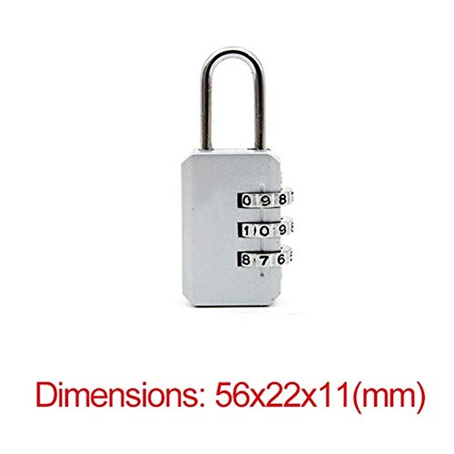 JYSLI Install 3 Digit Dial Combination Code Number Lock Padlock for Luggage Zipper Bag Backpack Handbag Suitcase Drawer durable Locks design (Color : Silver)