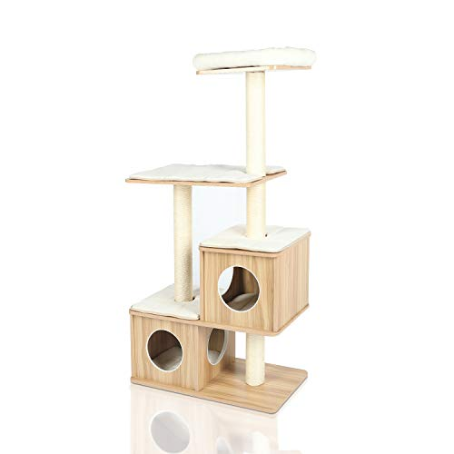 """LAZY BUDDY Cat Tree, 54"""" Wooden Modern Cat Tower, 4 Levels for Cat's Activity, Cat Furniture with Removable and Washable Mats for Kittens, Large Cats and Pets (Small) …"""