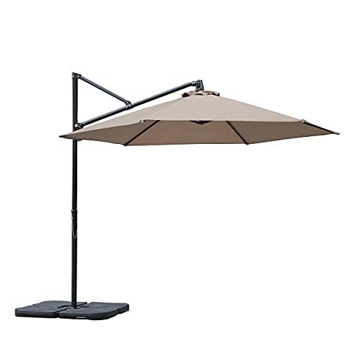 Sekey® Ampelschirm 300 cm Sonnenschirm Gartenschirm Kurbelschirm mit Kurbelvorrichtung Sonnenschutz UPF50+