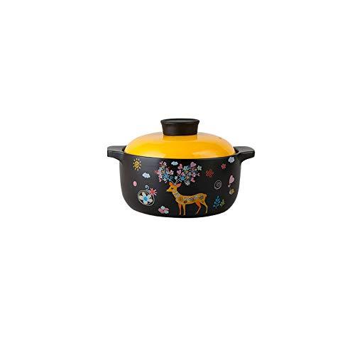 Olla Saludable Sartén Para Cocinar Cacerolas De Cerámica Binaural Utensilios De Cocina Sopa Antiadherente Para El Hogar Olla Para Estofado Lento Con Tapa,1.8Lsouppot