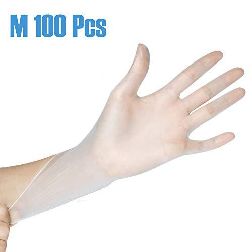 Luyao 100Pcs Einwegshandschuhe Transparente PVC Handschuhe Schutzhandschuhe Arbeitsversicherung Industriehandschuhe für Die Küche BBQ Reinigung