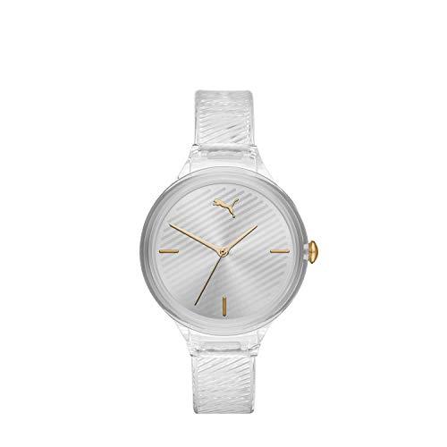 PUMA Women Contour Polyurethane Watch, Color: Clear/White (Model: P1016)