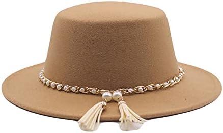 New life Max 53% OFF Womens Winter Spring Vintage Pearl Hat Tassel Wide Felt Fedora