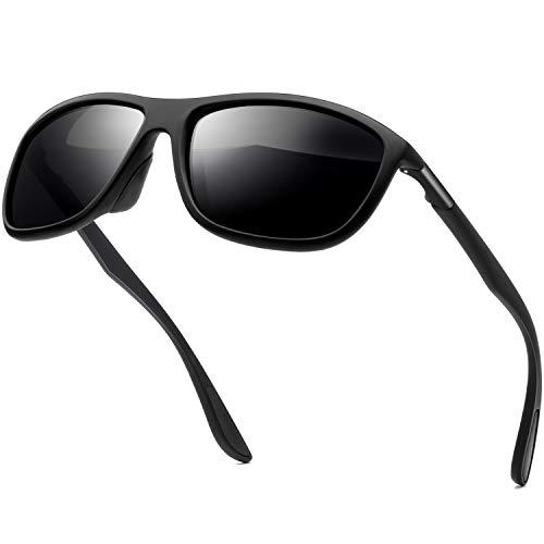 KANASTAL Sonnenbrille Herren Damen Sport Polarisierte Klassische Retro Rechteckige mit UV400-Schutz zum Angeln Radfahren Ski Golf Fahrt(Matt schwarz)
