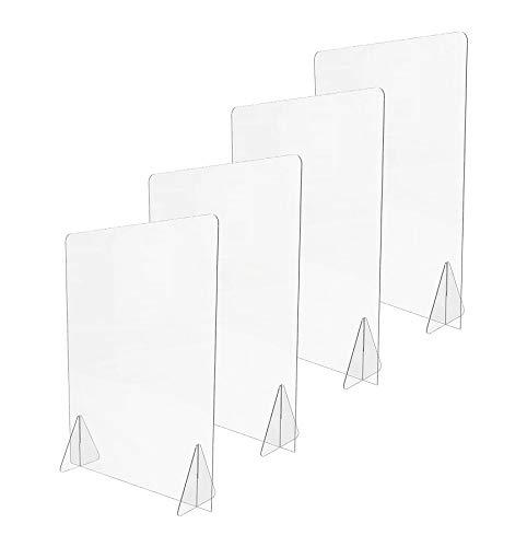 DQSG Pack(2) Mampara de metacrilato Transparente 50 x 66 cm (Ancho x Alto), sin ventanilla, como divisores en mesas de oficinas, mostradores recepción, Puestos de atención al Cliente. Envío rá