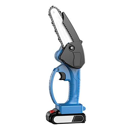 LYYAN Mini Motosierra De Una Mano,Motosierra De Mano Inalámbrica para Trabajar La Madera Motosierra Eléctrica Portátil Azul para Podar Árboles Y Jardinería