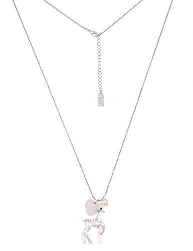 Leslii Damenkette Alpenrock Glitzer Rehkitz lange Halskette Oktoberfest silberne Modeschmuck-Kette Strass 78cm Silber