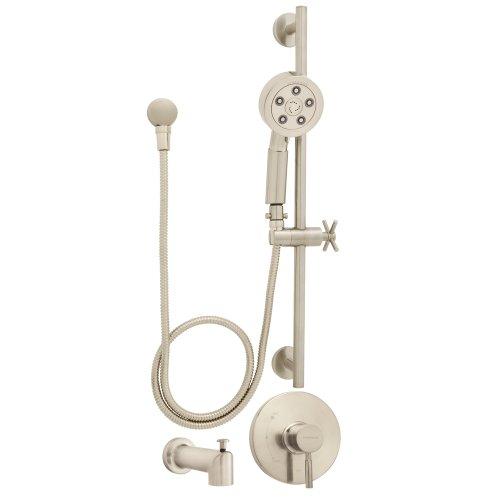 Speakman SM-1050-P-BN Neo Anystream Handheld Shower Head with Hose, Shower Valve, Tub Spout and ADA Adjustable Slide Bar Shower Combo, Brushed Nickel