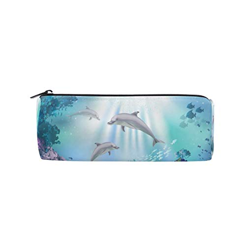 RXYY Meer Tier Delfins Pflanzen Bleistift Fall, Bleistift Halter Reißverschluss Leinwand Stift Box Pouch Beutel Box Kosmetik Papier Tasche für Schüler Schule Büro