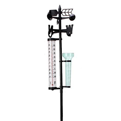 Wetterstation mit Regenmesser, Thermometer und Windrichtungsanzeiger im Garten und Innen