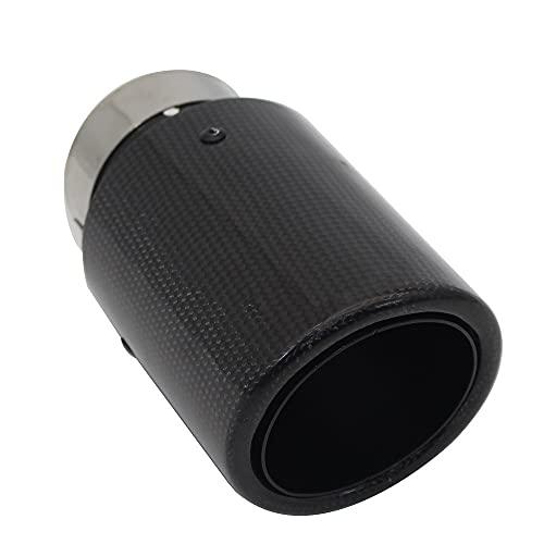 ZZMWLES Coche Brillante Fibra de Carbono Silenciador Sumblador Sistema de Escape Tubera Mufflers Boquilla Universal Crimping Negro (Color : 63mm 101mm)